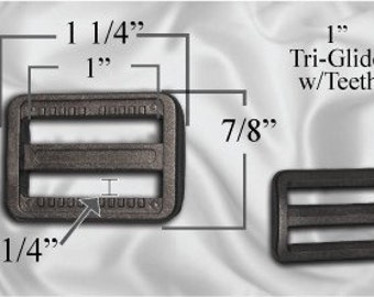 "30pcs - 1"" Tri Glide With Teeth - Black Plastic - (PTG-206)"