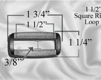 """50pcs - 1 1/2"""" Square Ring Loops - Black Plastic - (PSR-102)"""
