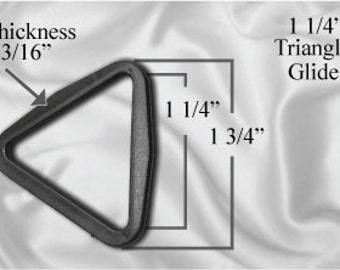 "50pcs - 1 1/4"" Triangle Glide - Black Plastic (TTG-104)"