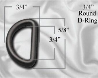 "10pcs - 3/4"" Rounded D-Ring - Black Plastic (PLASTIC D-RING PDR-104)"
