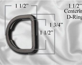 "50pcs - 1 1/2"" Centering D-Ring - Black Plastic - (PCR-100)"