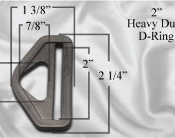 "30pcs - 2"" Heavy Duty D-Ring - Black Plastic - Free Shipping (PHD-100)"