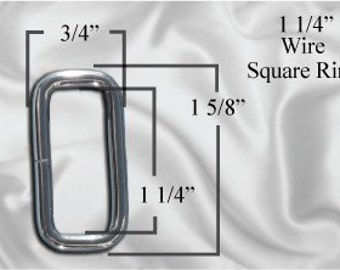 "10pcs - 1 1/4"" Metal Square Ring - Nickel (SQUARE RING SRG-116)"