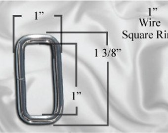 "10pcs - 1"" Metal Square Ring - Nickel (SQUARE RING SRG-108)"