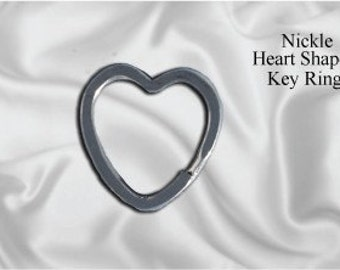 "50pcs - 1"" Heart Shaped Split Key Ring - Nickel (KEY RING KEY-108)"