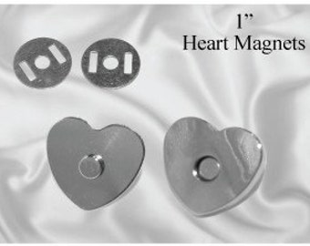 30 pcs Heart Shaped 18mm Magnetic Purse Snap Nickel (MAGNET SNAP MAG-158)