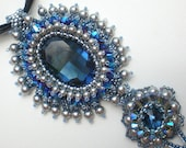 Rivoli Beadwoven Blue necklace Unique Jewelry Arwen Evenstar