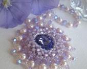 Rivoli Beadwoven Lavender Necklace Unique Jewelry  Faeries Star