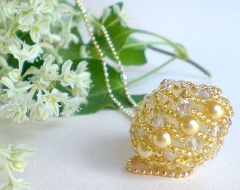Crystal Beaded  Ball Pendant in Gold and Pearls  Unique Jewelry  Romantic Gift