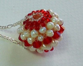 Crystal and Pearls Beadwoven Pendant Unique Jewelry Pearl Rose