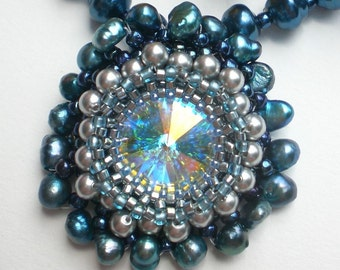Rivoli and Pearls Beadwoven Blue necklace Unique Jewelry Deep Ocean