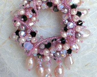 Swarovski Crystals Pearls Pink Black Pendant Necklace Beadwoven Beaded Beadweaving Unique Jewelry