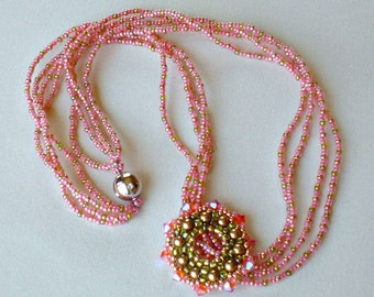 Crystal Beadwoven Necklace Pink  Coral Olive Green Unique Beaded Beadwork Beadweaving Jewelry  Peekaboo
