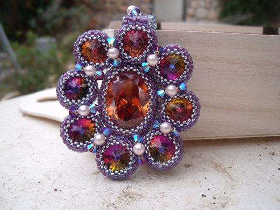 Crystal Beadwoven Rivoli Flower Necklace Unique Jewelry Autumn Flower