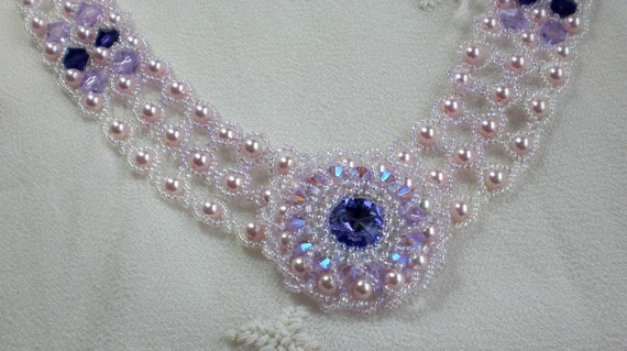 Crystal Beadwoven Lavender Choker Unique Jewelry Lady Diana