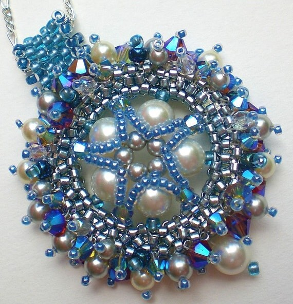 Crystal Blue Grey Silver Necklace Pendant Jewelry  Beadwoven Unique Jewelry Pentagram