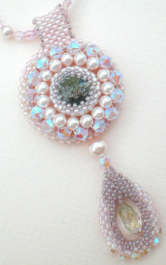 Rivoli Necklace Pink Grey Beadwoven Beaded Beadweaving Unique Jewelry  Opal Rose