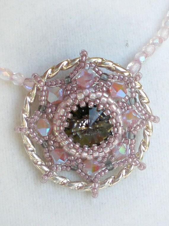 Rivoli Necklace Pink Grey Beadwoven Beaded Beadweaving Unique Jewelry  Opal Clouds