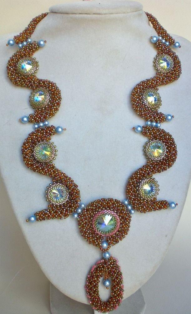 rivoli beadwoven necklace unique beaded beadwork beadweaving