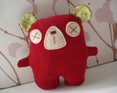 BrisStyle Handmade Ark Flood Appeal: Red Ted - green ears