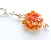 Lampwork Flower Pendant, Peach & Sterling Silver Necklace OOAK