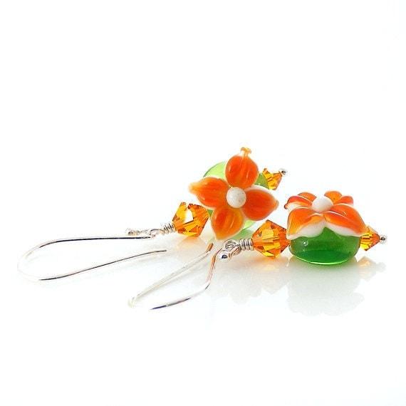 Tangerine Lime Earrings. Handcrafted Sterling Silver, Citrus Orange & Green Lampwork Glass Flowers, OOAK