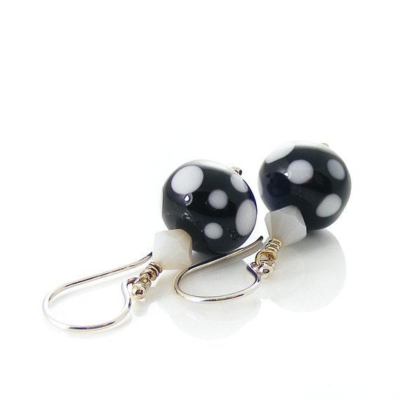 Polka Dot Earrings. Sterling Silver & Lampwork Glass. Black, White, Spotty