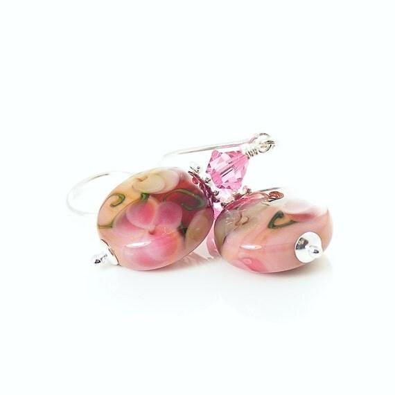 Handcrafted Pink Earrings, Lampwork Glass Beaded Earrings, Sterling Silver Jewelry, Pansy Flowers, Lampwork Bead Earrings