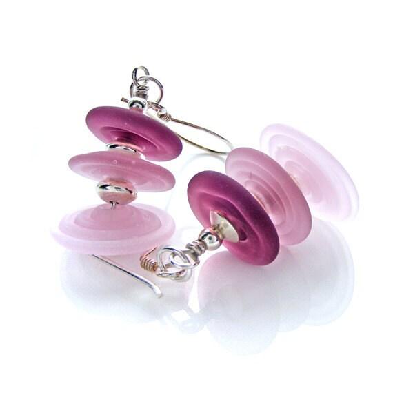"Pink Lampwork Glass Earrings, Handcrafted Sterling Silver Rose & Plum Pink Beaded Earrings, ""Trembles"""