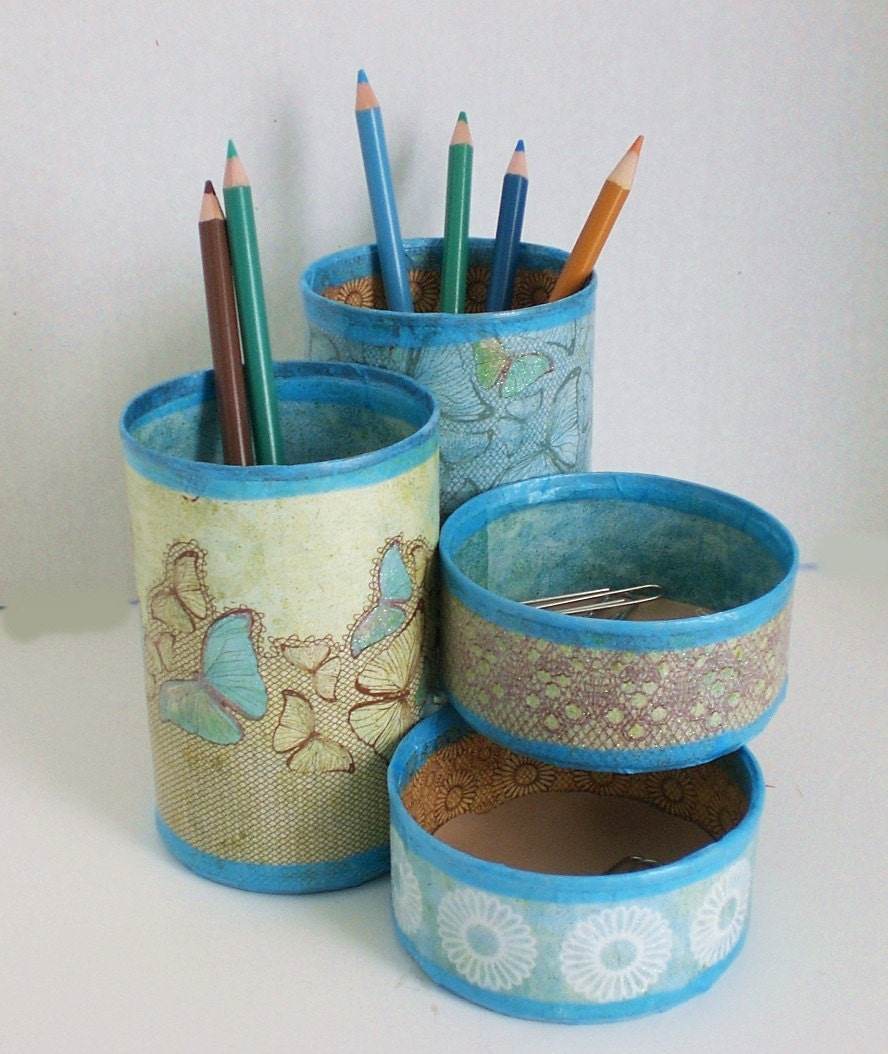 Recycled Can Desk Organizer / Pencil Holder