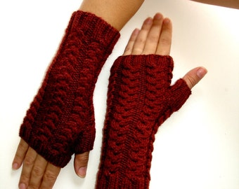 Bordeaux Wine Garnet Red Fingerless Gloves Hand Knit