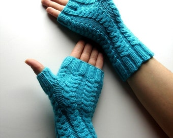 Turquoise Fingerless Gloves Topaz Blue Hand Knit