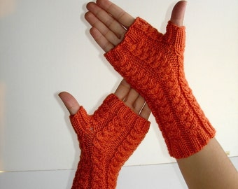 Bright Tangerine Orange Virgin Wool Hand Knit  Fingerless Gloves