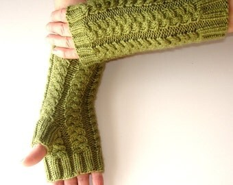 Fern Green Hand Knit Fingerless Gloves