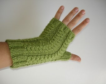 Silk Bamboo Fingerless Gloves Moss Green Tea Texting Hand Knit
