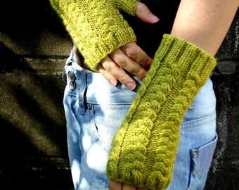 Handknit Green Pea Fingerless Gloves  Hand Knit