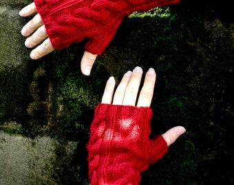 Garnet Red Cable Hand Knit Texting Fingerless Gloves