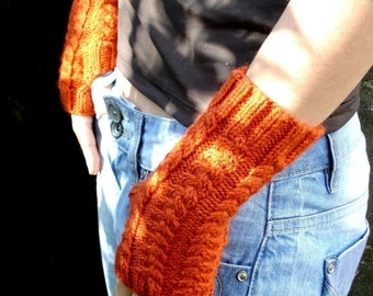 Tangerine Orange Fingerless Gloves Hand Knit