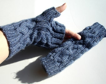 Denim Blue Cabled Hand Knit Unisex  Fingerless Gloves