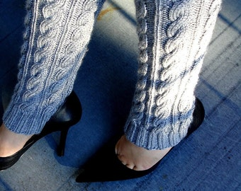 Grey  Leg Warmers Gray Hand Knit Gray