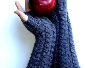 Long Charcoal Grey Hand Knit Gray Fingerless Gloves