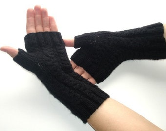 Fingerless Gloves Black Bamboo Silk Hand Knit Braided Cables