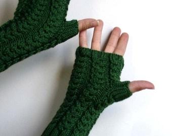 Kelly Dark Green Unisex Hand Knit Fingerless Gloves