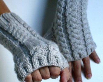 Linen White Fingerless Gloves Hand Knit