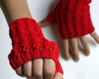 Garnet Red Cotton Hand Knit Texting Fingerless Gloves