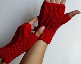 Ruby Texting Cardinal Red Merino Fingerless Gloves Hand Knit