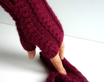 Marsala Angora Bamboo Merlot Red Hand Knit Fingerless Gloves
