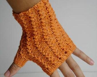 Pumpkin Texting Fingerless Gloves Tangerine Orange Cotton Hand Knit