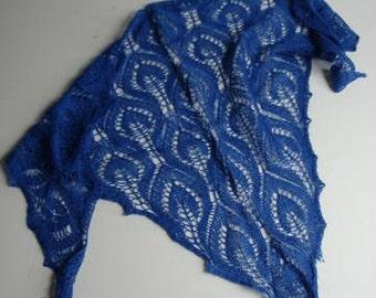 Sapphire Triangular Lace Neck Warmer Shawlette Royal Blue Hand Knit Lace