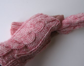 Texting White Fingerless Gloves with Red Blue or Brown Fibers Hand Knit